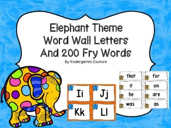 """Elephant Theme (Jungle) Word Wall Letters and """"200"""" Fry Words"""