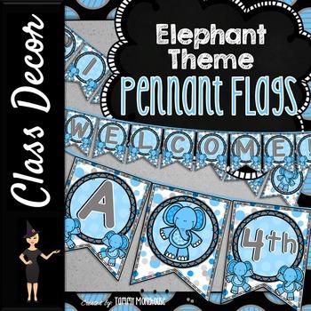 Elephant Theme Pennant Banners