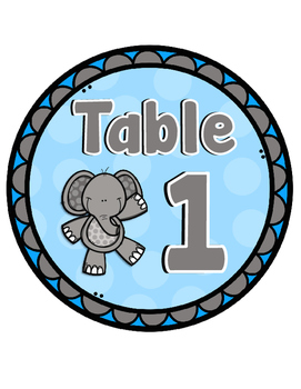 Elephant Theme Table Numbers