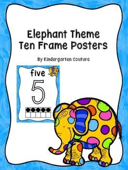 Elephant Theme Ten Frame Posters