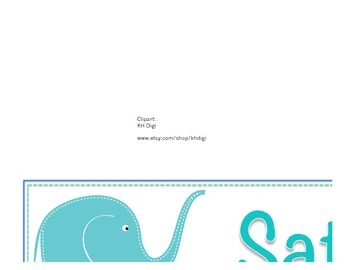 Elephant Theme : days of the week