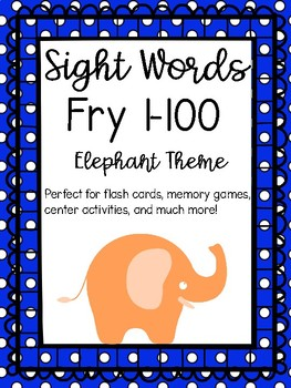 Fry Words 1-100 Sight Word Flash Cards Elephant Theme