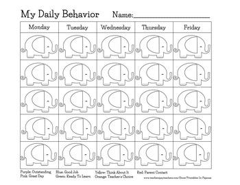 Elephant Themed Behavior Clip Chart