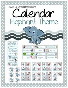 Elephant Themed Calendar Set