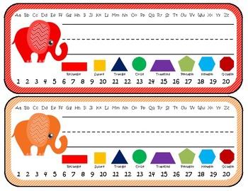 Elephant Themed Desk Nameplates