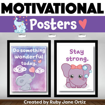 Elephant Themed Motivational Posters for Back to School Bulletin Boards