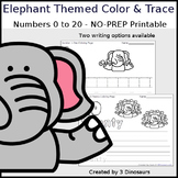 Elephant Themed Number Color and Trace