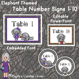 Elephant Themed Table Number Signs - Rectangular and Circular