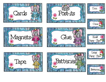 Elephant Tool Box Labels