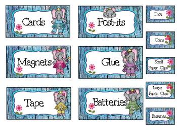Editable Elephant Tool Box Labels