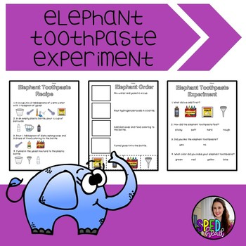 elephant toothpaste experiment by sped head teachers pay teachers. Black Bedroom Furniture Sets. Home Design Ideas