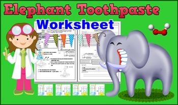 Elephant Toothpaste Science Experimental Worksheet for kids