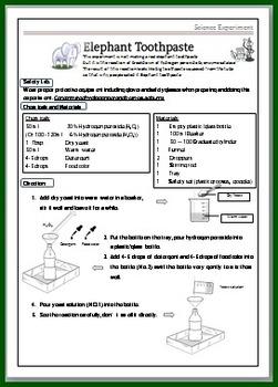 elephant toothpaste science experimental worksheet for kids by smiley teacher. Black Bedroom Furniture Sets. Home Design Ideas