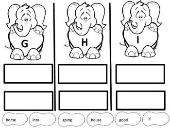 Elephant Valentine First Grade Sight Words