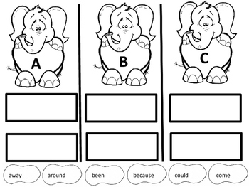 Elephant Valentine First Grade Sight Words
