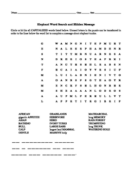Elephant Word Search and Hidden Message