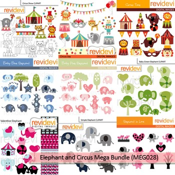 Elephant and Circus clip art mega bundle (9 packs)
