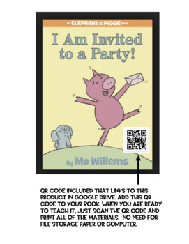 Elephant and Piggie!  I AM INVITED TO A PARTY!  Math Integration!  CCSS Aligned!