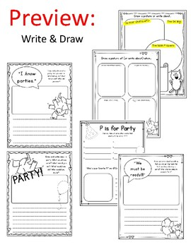 Elephant and Piggie. I am Invited to a Party! Worksheets. Mo Willems.