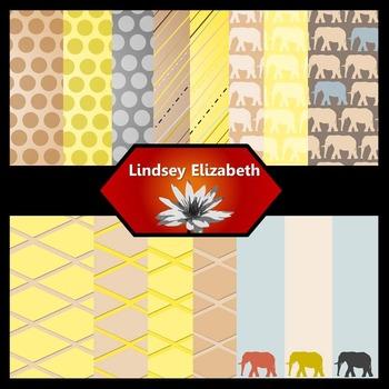 Elephant-astic Bookworm {Digital Paper Background Set}