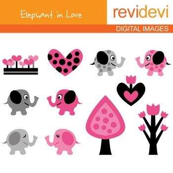 Elephant clip art - pink, black, grey