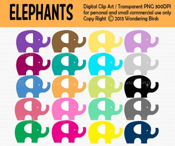 Elephant clip art - set of 20