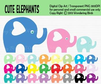 Elephant clip art - set of 25