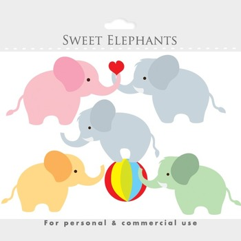 Elephant clipart - baby elephant clip art, animal, circus, cute