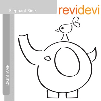 Elephant ride (digital stamp, coloring image) S007, elephant and bird