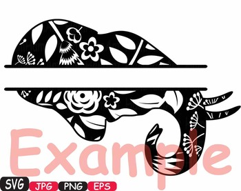 Elephant split Frames Jungle Animal Safari Flower SVG school Clipart zoo -425s