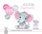 Elephant svg file, Pink elephant clip art, girl cricut print and cut.Simplified