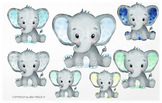 Elephant watercolor by clipart in so many different colors