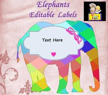 Elephants - Editable Labels - Clip Art - Glitter