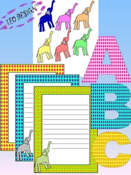 Classroom Decor - Elephants - Alphabet - Numbers - Frames - Clipart
