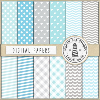 Elephants And Digital Papers In Soft Blue & Grey