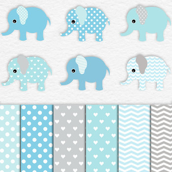Elephants And Digital Papers In Soft Blue & Grey, Cute Elephant