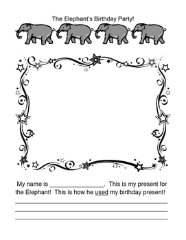 """""""Elephant's Birthday Party!"""" - Writing a Group Story with a Game & Craft"""