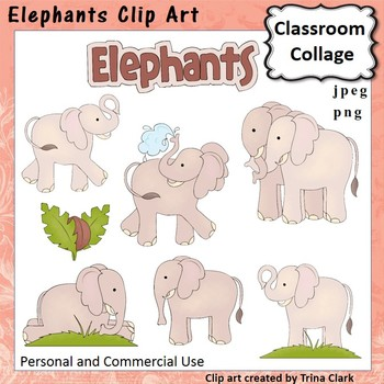 Elephants Clip Art - Color - personal & commercial use