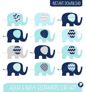 Elephants Clip Art - Navy, Aqua and Grey