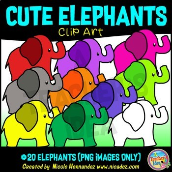Cute Rainbow Elephants Clip Art for Personal and Commercial Use