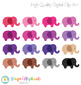 Elephants Clipart - Striped