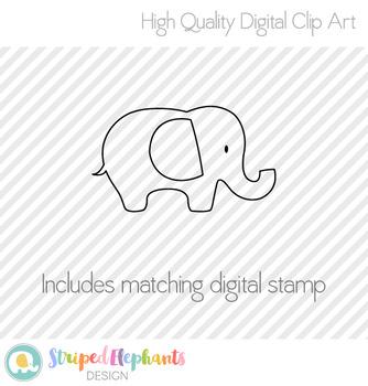 Elephants Clipart - Striped Pastel
