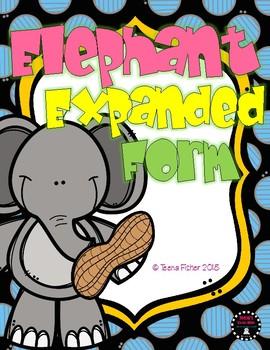 Elephants Expanded Form Numbers 100-999 File Folder Game Math Center