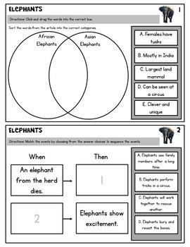 Elephants NF TEI Practice (Google Classroom & PDF) Distance Learning