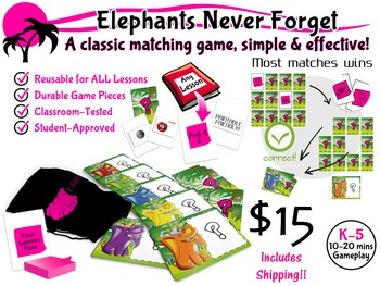 Elephants Never Forget: Matching Card Game, Reusable for ALL Subjects