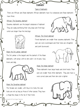 Elephants   -  PowerPoint and Worksheets
