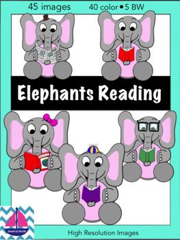 Elephants Reading Clip Art Images