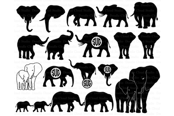 Elephants SVG, Elephant family, Elephant Monogram SVG files.