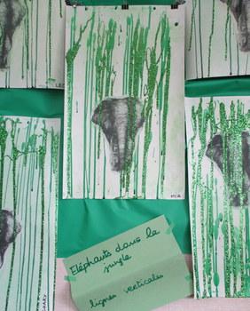 Eléphants dans la jungle, lignes verticales
