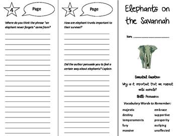 Elephants on the Savannah Trifold - Journeys 6th Grade Unit 6 Week 4
